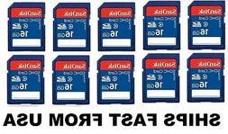 16GB Sandisk SD cards 10 pack for Digital Cameras / Trail Ca