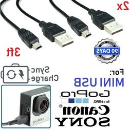 2 Pack 3ft MINI USB FAST Data Sync Power Charger Cable Cord