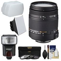Sigma 18-250mm f/3.5-6.3 DC Macro OS HSM Zoom Lens with Flas