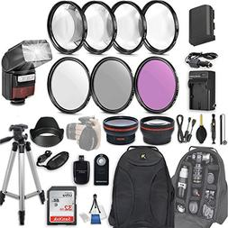 58mm 28 Pc Accessory Kit for Canon EOS Rebel 70D, 80D DSLRs