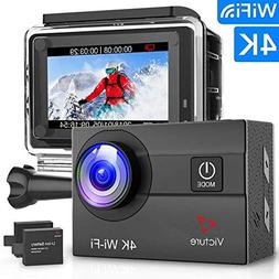 Victure Action Camera 4K WiFi 16MP 98Feet Waterproof Underwa