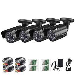 ZOSI 4 Pack 4-in-1 HD TVI/CVI/AHD/CVBS 1280TVL 1.0MP Securit