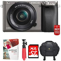 Sony Alpha a6000 24.3MP Grey Interchangeable Lens Camera + 1