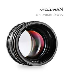 Kamlan 50mm F1.1 APS-C Large Aperture Manual Focus Lens Stan