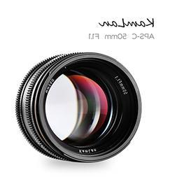 Kamlan 50mm F1.1 APS-C Large Aperture Manual Focus Lens Stan