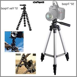 "Basic 50"" Tripod + 13"" Rugged Flexible Tripod Bundle for Oly"