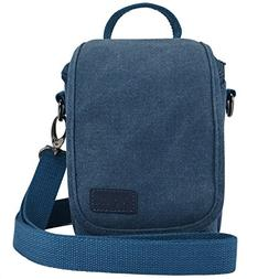 First2savvv BDV1703 blue cavans DSLR SLR camera case bag for