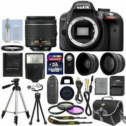Black + 3 Lens: 18-55mm Lens + 16GB Bundle Nikon D3300 Digit