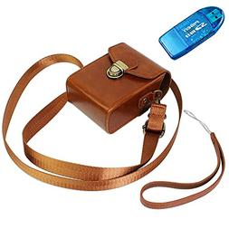 First2savvv brown PU leather camera case pouch bag with shou