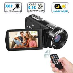 Video Camera Camcorder with IR Night Vision, WEILIANTE 18X D