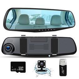 Car Camera Dash Cam Full HD 1080P, Rear View Mirror Dual Len