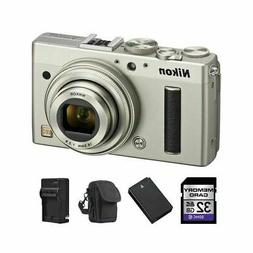Nikon Coolpix A Digital Camera - Silver + 2 Batteries, 32GB