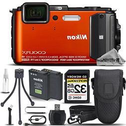 Nikon COOLPIX AW130 Waterproof Digital Camera Orange + 32GB