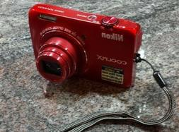 Nikon COOLPIX S6300 16.0MP Digital Camera - Red, w/Battery,