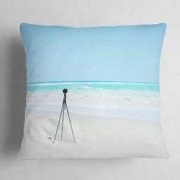 Designart CU11403-18-18 Digital Camera and Tripod on Beach'