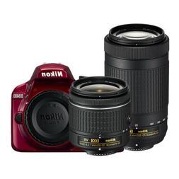 Nikon D3400 Red Double Zoom Lens Kit 24.2MP Digital SLR