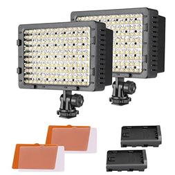 Neewer 2-Pack Dimmable 216 LED Video Light with 4 Color Filt