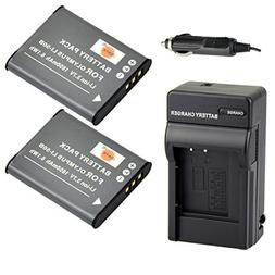 DSTE® 2x Li-50B Battery + DC16 Travel and Car Charger Adapt