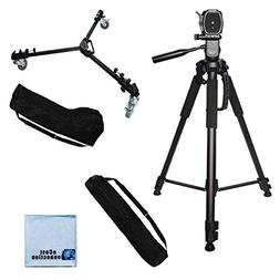 Elite Series Professional Universal Tripod Dolly with One-Step Easy Lock System /& eCostConnection Microfiber Cloth 72 Inch Elite Series Full Size Camera Tripod for DSLR Cameras//Camcorders