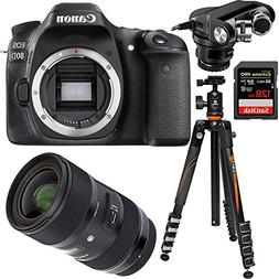 Canon EOS 80D 24.2 MP CMOS Digital SLR Camera Bundle w/ Sigm