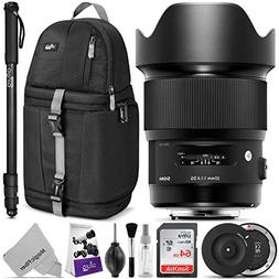 Sigma 20mm f/1.4 DG HSM Art Lens for Nikon F DSLR Cameras w/