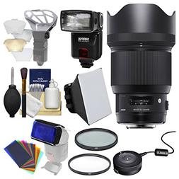 Sigma 85mm f/1.4 Art DG HSM Lens with USB Dock + Flash + 2