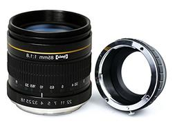 Opteka 85mm f/1.8 Manual Focus Aspherical Medium Telephoto P