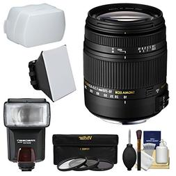 Sigma 18-250mm f/3.5-6.3 DC Macro OS HSM Zoom Lens + Flash +