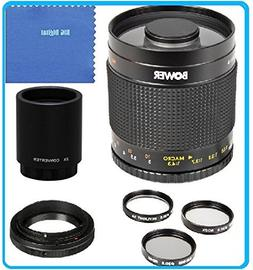 Bower 500mm f/8 Telephoto Mirror Lens + 2x Teleconverter = 1