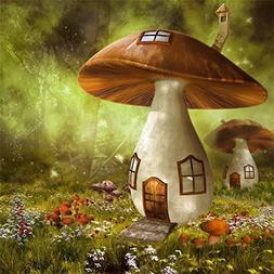 OFILA Fairy Forest Backdrop 6x6ft Mushroom House Enchanted T