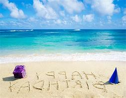 AOFOTO 9x7ft Happy Birthday Written On The Beach With Gift B