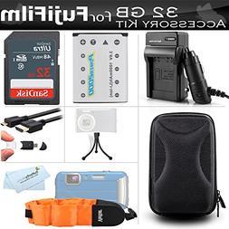 32GB Accessories Kit For Fujifilm FinePix XP70, XP80, XP90,