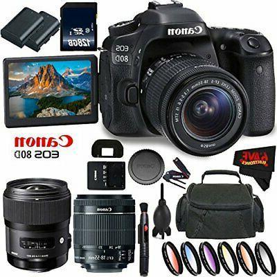 Canon EOS 80D DSLR Camera + 18-55mm + f/1.4 DG +d (