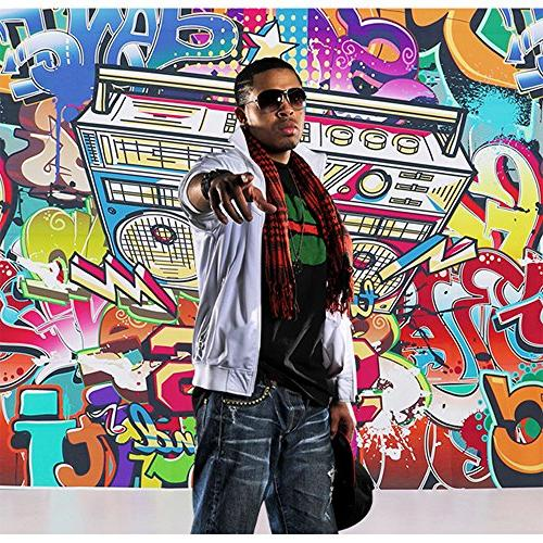 Allenjoy Thin Backdrop Hip-Hop Style Design of 90's Fashion Alphabet Wall Photography or Block Party Decoration