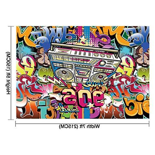 Allenjoy Vinyl Backdrop Hip-Hop Design of Alphabet Wall Photography Decoration