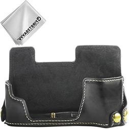 First2savvv Leather Half Camera Case Bag Cover base for Fuji