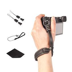 CamZone Leather Camera Hand Wrist Strap for DSLR Cameras Vin