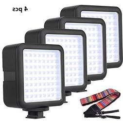 4 Pcs Godox LED64 Video Light for DSLR Camera Camcorder mini