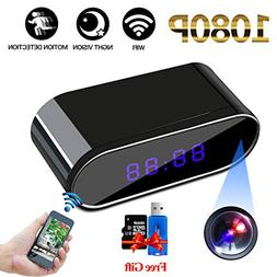 Mini Hidden Cameras Clock 1080P HD WiFi Spy Cameras Nanny Ca