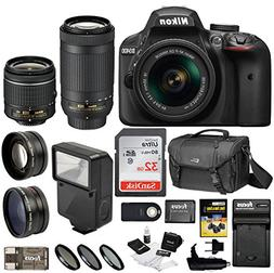 Nikon D3400 DSLR Camera 18-55mm 70-300mm Nikkor Lens + Nikon