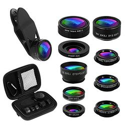 Phone Camera Lens Kit, 9 in 1 Zoom Universal Telephoto Lens+
