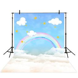 Allenjoy 5x7ft Polyester Children Backdrop Rainbow and Stars