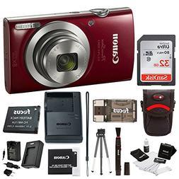 Canon PowerShot ELPH 180 20 MP Digital Camera Red w 32GB Acc