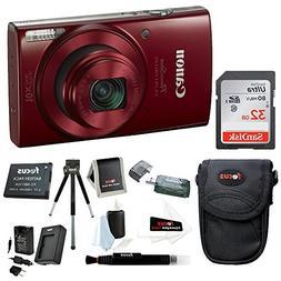 Canon PowerShot ELPH 190 IS 20 MP Digital Camera Red w 32GB