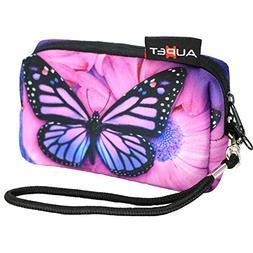 AUPET Purple Butterfly Design Digital Camera Case Bag Pouch