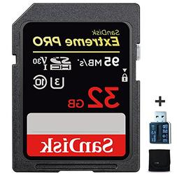 SanDisk Extreme PRO 32GB SD Memory Card + Card Reader for CA