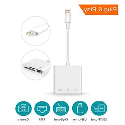 SD Card Reader,3 in 1 Lightning Adapter for iPhone & iPad, L