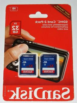 SanDisk SDHC Card 2 Pack 32gb  NEW SEALED FREE SHIPPING!