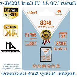 Amplim 64GB SDXC SD Card  64 GB Ultra High Speed 667X 100MB/