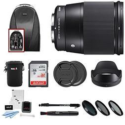 Sigma 16mm f/1.4 DC DN Contemporary Lens for Sony E W/16GB S